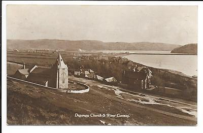Old postcard, Wales: 'Deganwy Church & River Conway'. Posted 1922.