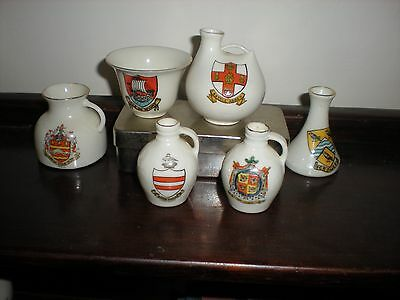 Collection of 6 items of Goss Crested China - Varied crests
