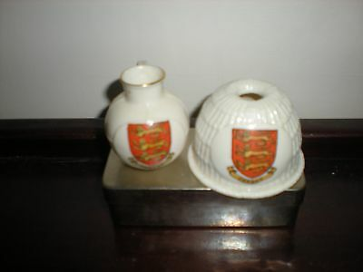 Pair of Goss Crested China Jersey crested items