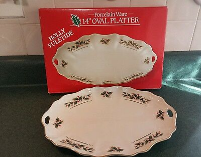 """14"""" Oval Serving Platter China in HOLLY YULETIDE Made in Japan Boxed"""