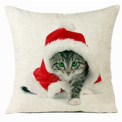 Cute Christmas Santa Cat Square Sofa Office Decor Pillow Case Cushion Cover Gift