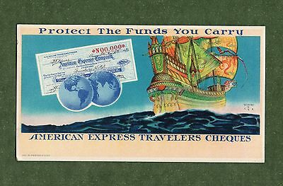 """AMERICAN EXPRESS TRAVELERS CHEQUES Unused Blotter - 3¼""""x5⅞"""",.1931, Great Cond"""