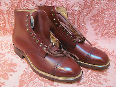 SCARCE *DEAD-STOCK 1940s Wing-Tip CAP-TOE OXBLOOD LEATHER BROGUE High-Top BOOTS