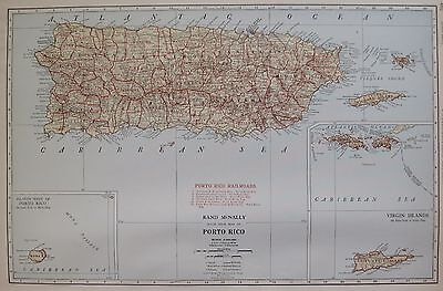 1927 RARE PUERTO RICO Map of Puerto Rico Poster Print Size UNCOMMON 3292