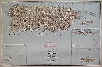1927 RARE PUERTO RICO Map of Puerto Rico UNCOMMON Size Never Folded! 3292