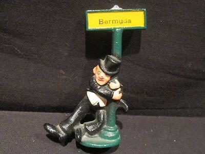 Drunk in Suit & Top Hat holding Bermuda Sign Post Vintage Heavy Cast Figurine