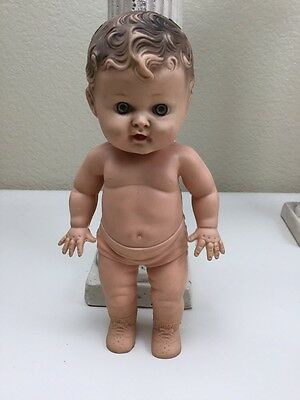 "Tod L Tot The Sun Rubber Doll Co 10"" Rubber Boy Doll Squeek Doll Vintage"
