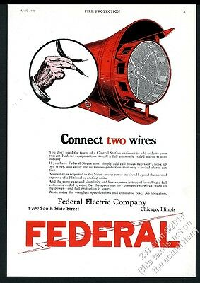 1927 Federal Electric Code warning siren color art vintage trade print ad 3