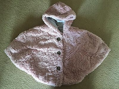 Girls Next Super fluffy Soft Baby Pink Poncho Autumn Winter Coat Age 3-4 4-5