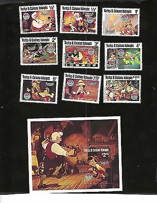TURKS & CAICOS IS. sc#442-50 #451 SHEET (1980) COMPLETE MNH  DISNEY