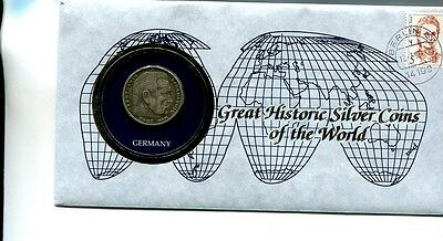 Germany 1936 5 Pfenning Silver Coin And Stamp Cover Xf 2723J