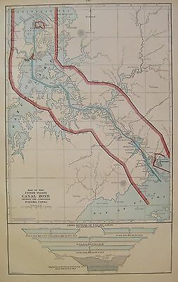 1914 RARE Antique PANAMA CANAL ZONE Map of the Panama Canal UNCOMMON 3305