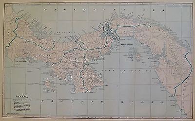 1914 RARE Antique PANAMA MAP Gulf of Panama Map Panama Canal Map UNCOMMON 3306