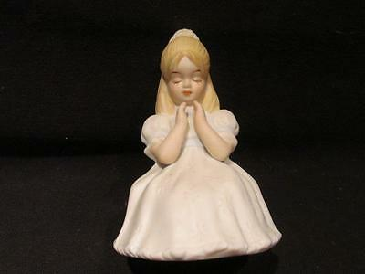 First Communion 1987 Enesco Figurine Praying Girl with White Flower Dress
