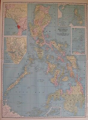 1914 Rare Size PHILIPPINES Map Antique Map of THE PHILIPPINE Islands 3311