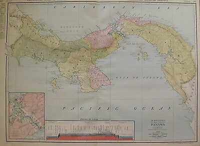 1914 Rare Size Panama Map Antique Map of Panama Canal BEAUTIFUL 3312