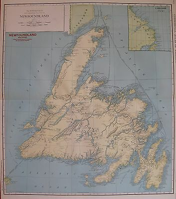 1914 Rare Size NEWFOUNDLAND Map Antique Map of Newfoundland Canada 3313