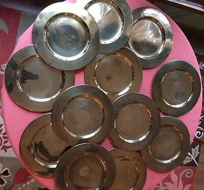 Set of 12 (12 Inch) Brass Plate Chargers From India Vintage?