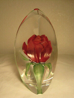 Mats Jonasson Sweden Art Crystal Red Rose Sculpture Paperweight, 13 cm high
