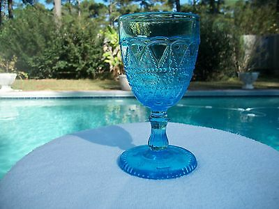 Vintage Wheaton Ice Blue Lace Lacy & Dewdrop Pressed Glass Goblet