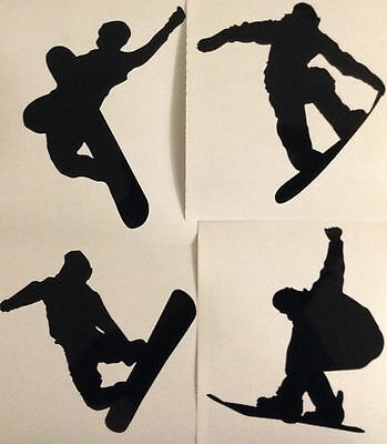 Snowboarding Silhouette decal Stickers - Snowboard stickers pack of 4