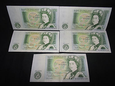 GB £1 notes x 5 in good condition.