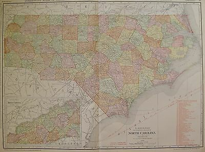 1914 Antique MAP of NORTH CAROLINA Rare Size Map with Railroads 3331