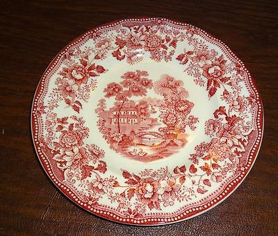 "Clarice Cliff Royal Staffordshire TONQUIN 6 3/8"" Bread Plate Red Asian & Floral"