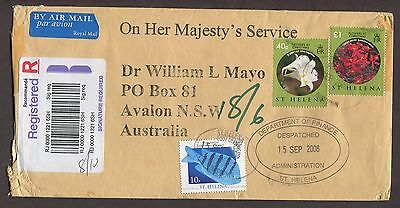 St Helena 2008 Registered Official Ohms Airmail Cover Finance Dept To Australia