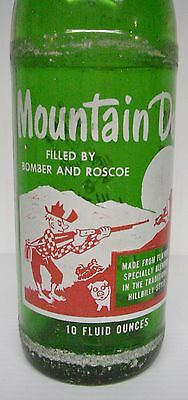 "Vintage 1965 Mountain Dew Filled By ""BOMBER AND ROSCOE"" 10 ounce Soda Bottle"