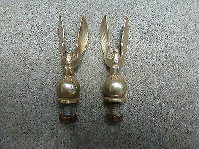 Pair Vintage Brass Lamp Finials Eagle Style
