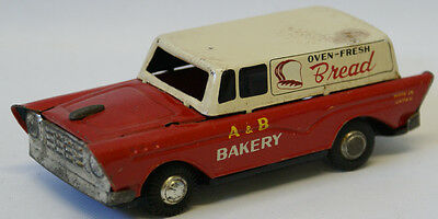 Vintage Tin Friction A&B Bakery Oven-Fresh Bread Delivery Station Wagon Truck