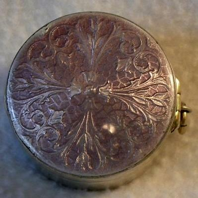 Antique  Sterling Silver Chatelaine Guilloche Enamel & Snuff Pill Box
