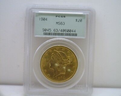 1904 $20 PCGS MS 63 Gold Liberty Double Eagle,Twenty Dollar Coin