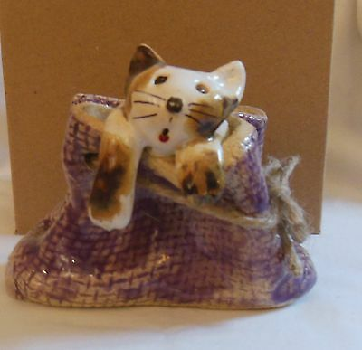 ANKA CHRISTOF - POTTERY CATS - cat in a sack