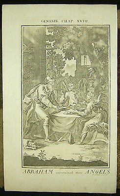 1757 Copper Plate Bible Engraving/abraham Entertains The Angels!