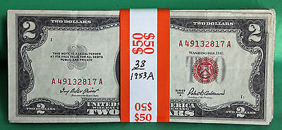 1953 Series Lot of 38 Average Circulated $2 Bills Currency Paper Money US