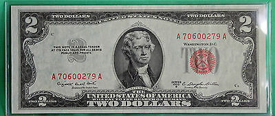 1953 B $2 Two Dollar Currency Paper Money Average Circulated Red Seal #0279