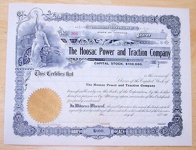 Stock Certificate The Hoosac Power and Traction Company Vermont 190-.