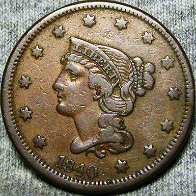 1840 Braided Hair Large Cent -- TYPE COIN -- #M892