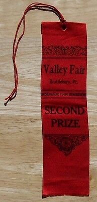 Prize Ribbon Valley Fair Brattleboro Vermont 1906 Second Prize bright red Agric
