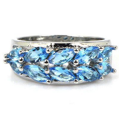 Classic Swiss Blue Topaz Woman's Party Silver Ring US sz 7 #