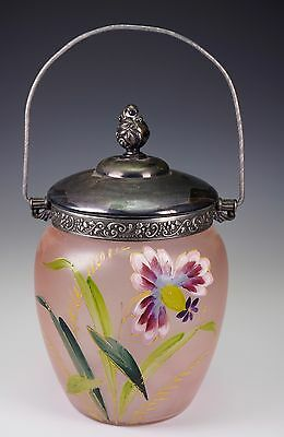 Victorian Hand Painted Floral Glass Metal Mounted Handle Cracker Jar