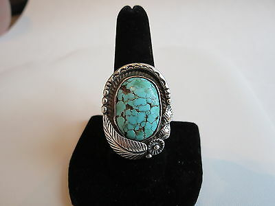 Old Pawn Hallmarked Navajo Big 10.25 Sterling silver spiderweb turquoise ring
