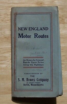 Map. New England Motor Routes S M Howes Company Boston, Mass 1921