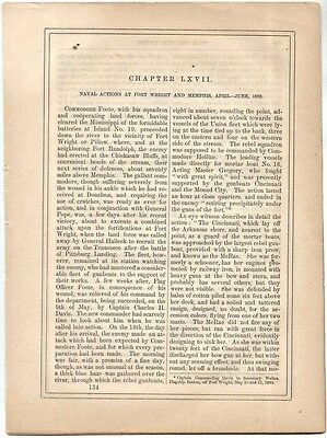 12 page account of the Naval Battles at Fort Wright & Memphis, April-June, 1862