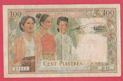 1954 French Indo-China 100 Piastre Note