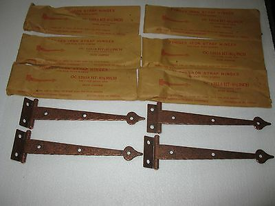 Set Of 8 Pairs Forged Iron Strap Hinges