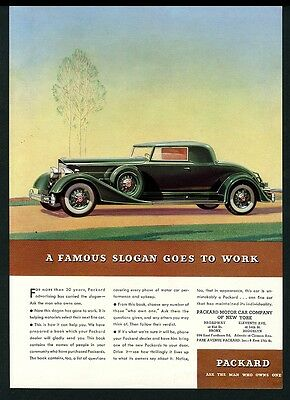 1934 Packard Coupe beautiful green car illustrated vintage print ad