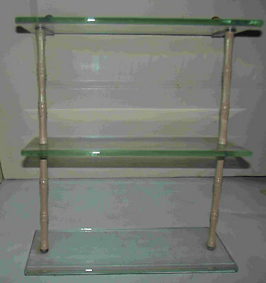 Antique Vintage Bathroom Glass 3 Shelf Vanity Shelf Wall Unit Bamboo Metal With
